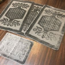 ROMANY WASHABLES GYPSY MATS 4PC SETS NON SLIP SWIRL DESIGN CHARCOAL GREY CARPETS